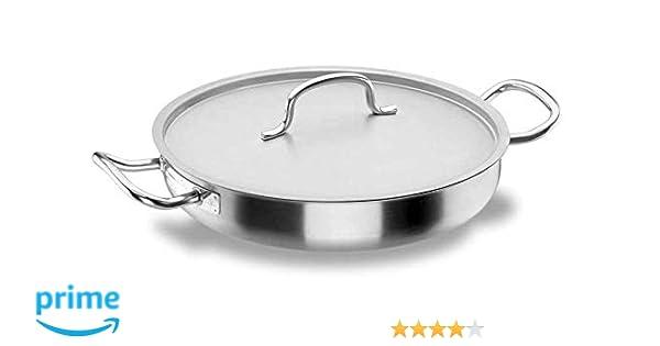 Lacor - 50624 - Paellera con Tapa Chef-Classic Inox. 24cm: Amazon.es: Hogar