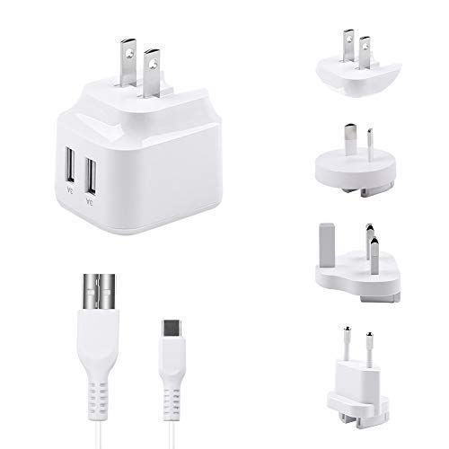 (Ruishion Fast Travel USB Charger 31W/6A 2-Ports UK EU USA Au Plug Adapter Compatible with iPad Bluetooth Speaker Charger (CB,ETL,UL,GS Certified,1 Cable Included))