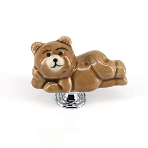 Jacana Boutique 1x Cute Bear Ceramic Knobs Drawer Handles Pulls for Wardrobe Cupboard Kids' Dresser Cabinet Closet Kitchen Furniture with Screws
