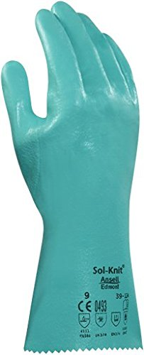 Ansell 3912410 Sol-Knit 39-124 Nitrile Coated Gloves, 16'' Length, 5'' Width, 0.38'' Height, Size 10, Green (Pack of 12)