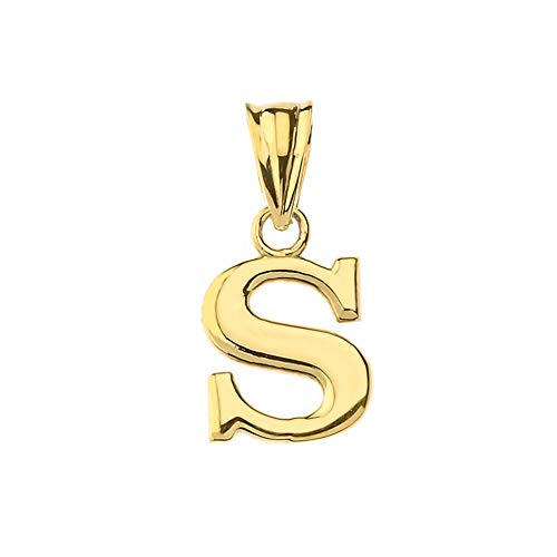 (Fine Personalized Initial S Charm Pendant in Solid 14k Yellow Gold)