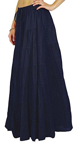 conception de Marin Summer la Phagun Bleu serrage Ethnique avec taille cordon Jupe de Coton femmes 1qFXZ
