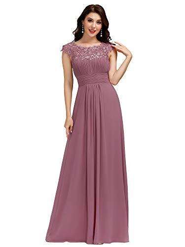 Ever-Pretty Women's Lacey Neckline Open Back Ruched Bust Evening Dresses 09993