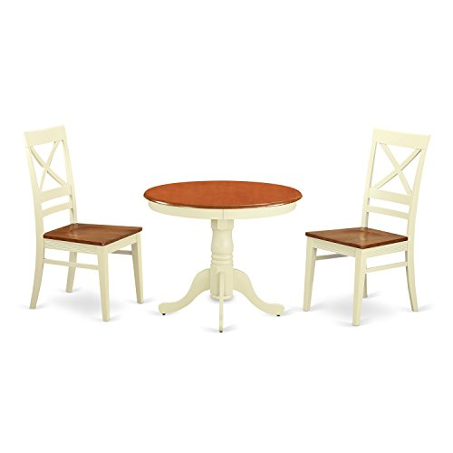 East West Furniture ANQU3-WHI-W 3 Piece Kitchen Dinette Table and 2 Chairs Review