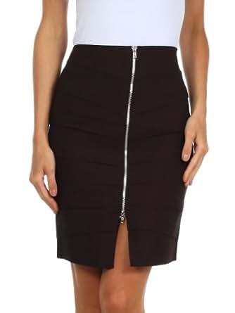 Sakkas 5631 Above the Knee Zippered Tiered Sleek Stretch Pencil Skirt - Brown/Small
