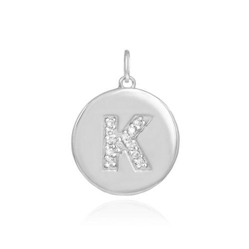 White Gold Birthstone Charm (10k White Gold Diamond Charm Disc Initial Letter K Pendant)