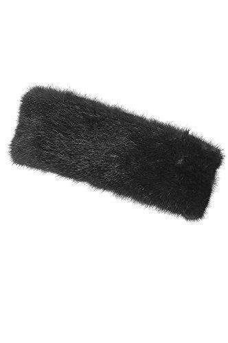 Mink Fur Headband, BLACK, Size 1 Size by Overland Sheepskin Co