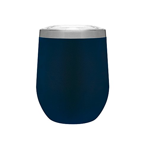 Wall Double Tank - Hot or Cold - 12 oz. Double Wall Stainless Steel Copper Vacuum Insulated Stemless Wine Tumbler - Matte Blue