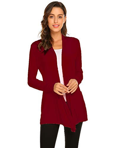 (Newchoice Womens Casual Lightweight Long Sleeve Cardigans Drape Open Front Cardigans Sweaters Loose Kimono Cardigan (Wine Red, M) )