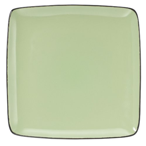 Green Plates Square Charger - Cuisinart CDST1-DPG Melle Collection Stoneware Open Stock Square Dinner Plate, 10.5-Inch, Green