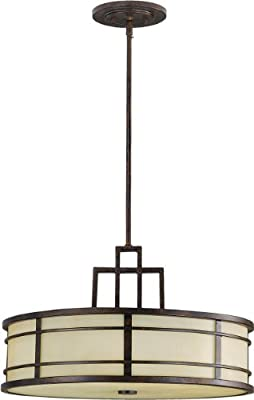 "Feiss F2081/3GBZ Fusion Onyx Drum Pendant Lighting, Bronze, 3-Light (21""Dia x 13""H) 300watts"
