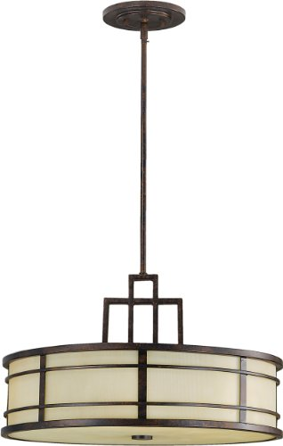 Feiss F2081/3GBZ Fusion Onyx Drum Pendant Lighting, Bronze, 3-Light (21