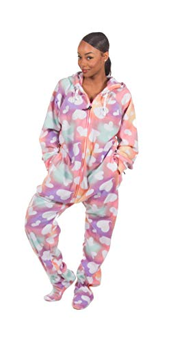 Forever Lazy Footed Adult Onesie - Tie Dye Hearts - XS