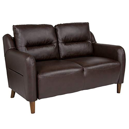 Flash Furniture Newton Hill Upholstered Bustle Back Loveseat in Brown Leather ()