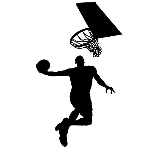 Boodecal Vinyl Basketball Players Slam Dunk Silhouette with Basketball and Basketry Wall Decals Stickers Murals for Basketball Fatheads Kids Teens Boys Rooms ()