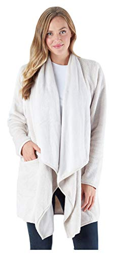 Sleepyheads Women's Fleece Long Sleeve Wrap Robe Cardigan with Pockets, Oatmeal (SH1450-4069-S/M)