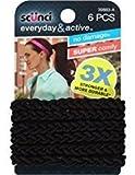 Scunci Everyday and Active Strand Elastics | Black Color | 6-Pcs per Pack | 3-Packs