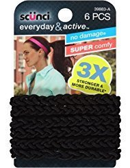 Scunci Everyday and Active Strand Elastics | Black Color | 6-Pcs per Pack | -