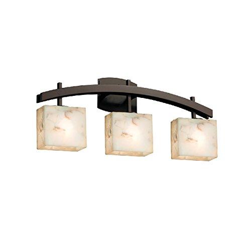 Justice Design Group Lighting ALR-8593-55-DBRZ-LED3-2100 Archway 3-Light Bath Bar-Rectangle Shade-Alabaster Rocks-LED, Dark Bronze