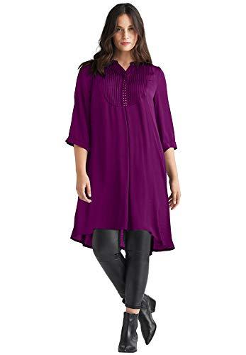 - Ellos Women's Plus Size Studded Tunic Dress - Boysenberry, S