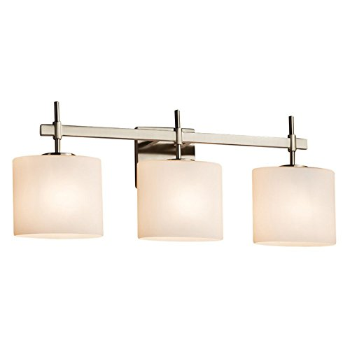 Light Bath Bar Oval Shades (Justice Design Group Lighting FSN-8413-30-OPAL-NCKL Justice Design Group - Fusion - Union 3-Light Bath bar - Oval - Brushed Nickel Finish with Opal Shade,)