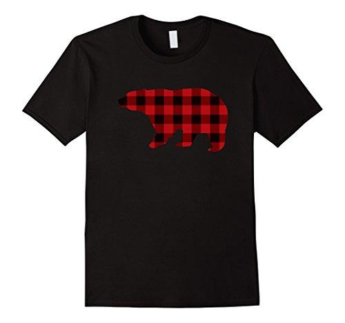 Lumberjack Outfits (Men's Retro Christmas Lumberjack Buffalo Plaid Bear T Shirts Medium Black)