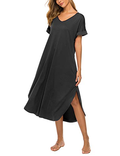 Bloggerlove Sleepwear Women's Casual V Neck Nightshirt Short Sleeve Long Nightgown with Pocket S-XXL