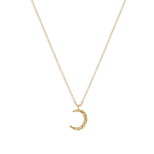 Valloey Moon Necklaces for Women,14K Gold Filled Dainty Charm Full Moon Hammered Delicate New Moon Pendant Necklace Gift for Women(Gold-cmoon) ()