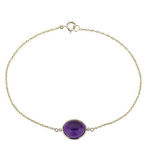 Euforia Jewels IGI Certified 14K Yellow Gold Bracelet Studded with AAA Quality 3.76 Carat Oval Cabochon Natural Amethyst and 0.01 Carats (SI/H-I) Round Full Cut Natural Diamond
