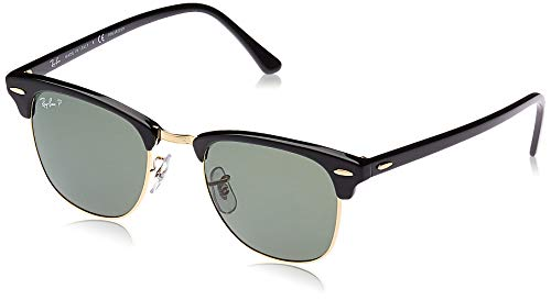 Ray-Ban RB3016 Clubmaster Square Sunglasses, Black/Polarized Green, 51 mm (Ray-bans Clubmaster)