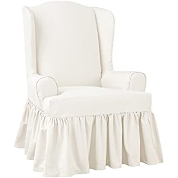 Amazon Com Sure Fit Essential Twill Ruffled Wing Chair