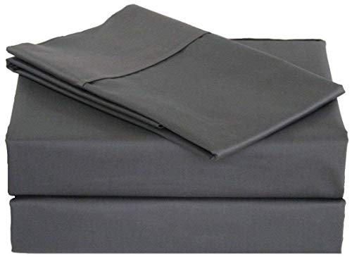 Flow's Linen Original 1200-THREAD Count Luxury Soft 100% Heavy Egyptian 4-PCs Sheet Set Queen Size Fits Up to 14-15 Inches Pockets Depth (Solid, Grey)