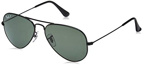 Ray-Ban RB3025 Aviator Polarized Sunglasses, Black/Polarized Green, 55 mm (Ray-ban Rb3025 55 Aviator)