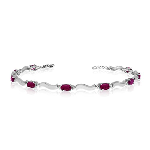 (14K White Gold Oval Ruby and Diamond Bracelet)