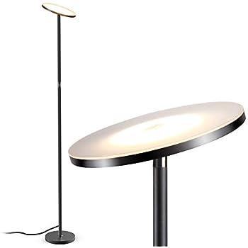 Floor Lamp, LED Torchiere Floor lamp, Tall Standing Uplight Industrial Floor Lamps Stepless Dimmable Modern Pole Floor Light for Living Room Offices Bedroom, TECKIN Daylight Floor Lights Black