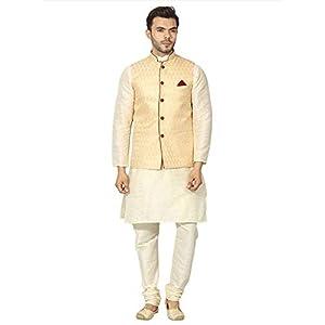 Uri and MacKenzie Mens Cream Kurta Pyjama with Ethnic Nehru Jacket Waistcoat
