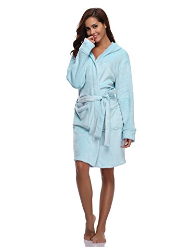 Luvrobes Women's Plush Fleece Hooded Robe Ultra-Soft Short Bathrobe(S/M, SkyBlue)