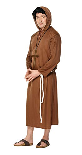 Smiffys Men's Monk Costume, Hooded Robe and Belt, Saints and Sinners, Serious Fun, Size L, -