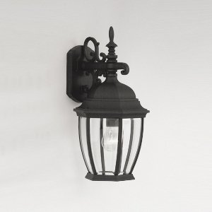 Designers Fountain 2431-BK Triverton - One Light Outdoor Wall Lantern, Black Finish with Clear Beveled Glass