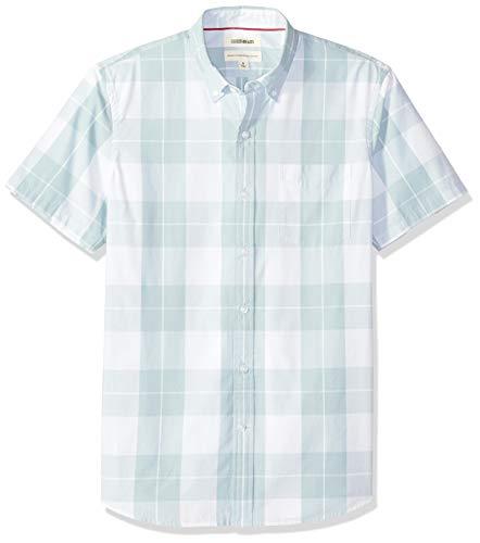 Goodthreads Men's Standard-Fit Short-Sleeve Plaid Poplin Shirt, -light blue plaid, XX-Large (Sleeve Blue Short Light Shirt)