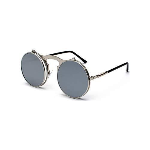 CCGSDJ Retro Steampunk Circle Vintage Round Flip Up Sunglasses Women Men Punk Style Sunglass Metal Frame Black Sun Glasses Male ()