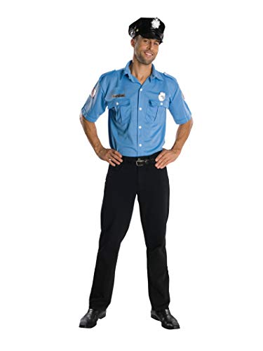 Easy Film Halloween Costumes (Rubie's Heroes And Hombres Adult Police Officer Shirt And Hat, Blue,)