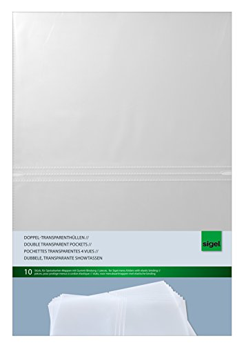 Sigel SM180 Double transparent pockets, for menu folders with elastic binding, for A4, 10 pieces -