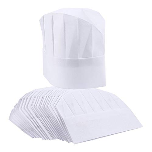 Chef Hats - 24-Pack Disposable White Paper Chef Toques, Chef Supplies, Adjustable Professional Kitchen Chef Caps for Baking, Culinary Hygiene, Cooking Safety, 20-22 Inches in Circumference -