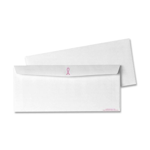 Quality Park Breast Cancer Awareness Envelopes, #10, White/Pink Ribbon, 500/Box (11120)