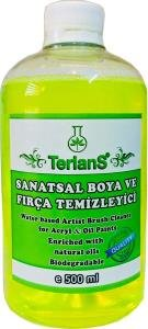 Terlans Water Based Art Paint Artist Brush Cleaner Restorer for Removing Dried Acrylics and Oil Paint from Bristles (16.9 oz) by Terlans