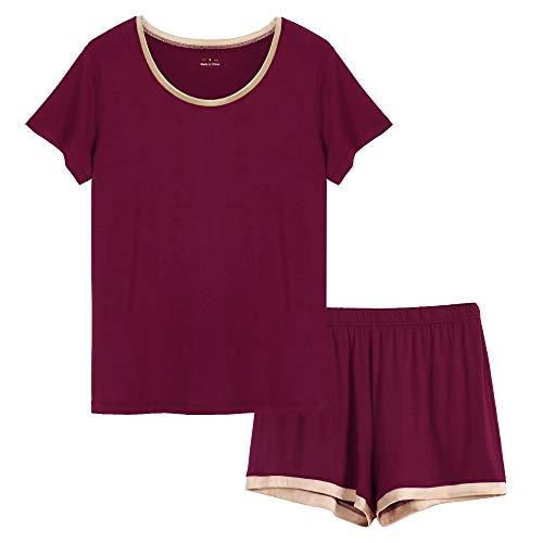 - GYS Women's Soft Scoop Neck Shorts Pajama Set, Wine, Small