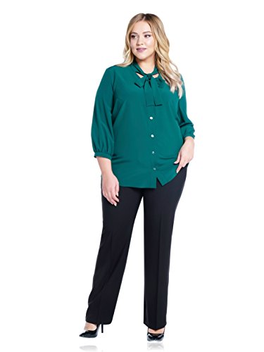 Max & Style Zalina | Women's Black Office Dress Pants with Curvy Fit | Tailored Career Trouser with Bootcut Style | US 16-24