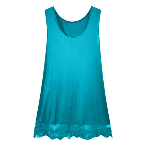 Women's Dresses Fashion Sleeveless A-Line Shirt Lace Patchwork Dress Hem Casual Tank Tops Pure Color O-Neck Vest