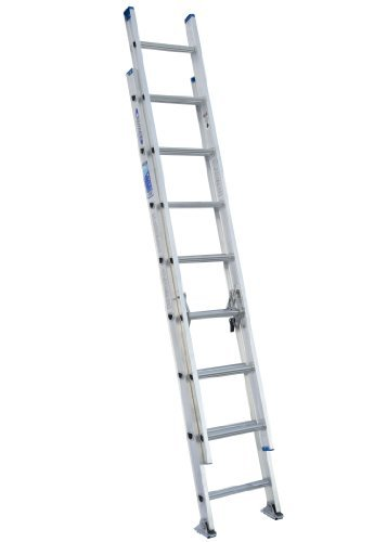Werner D1316-2 250-Pound Duty Rating Aluminum Flat D-Rung Extension Ladder, 16-Foot by Werner